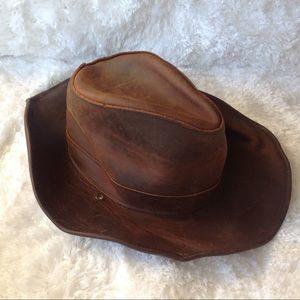 Henschel Hat Co Leather Hat SZ Large